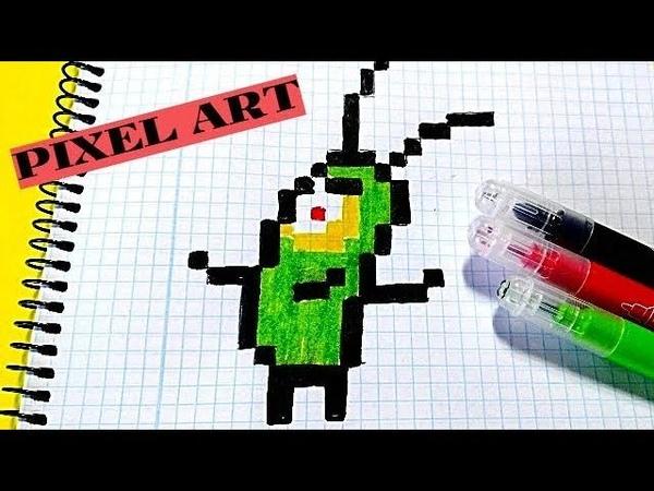 Como dibujar a Plankton Bob Esponja- Pixel Art