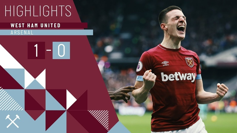 HIGHLIGHTS WEST HAM UNITED 1 ARSENAL 0 DECLAN RICE SCORES HIS FIRST GOAL TO CLINCH THE WIN
