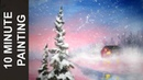 Painting a Pink Sky Winter Wonderland Landscape in 10 Minutes with Acrylics!