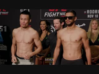 UFC Denver- Korean Zombie vs. Yair Rodriguez Weigh-In Staredown - MMA Fighting