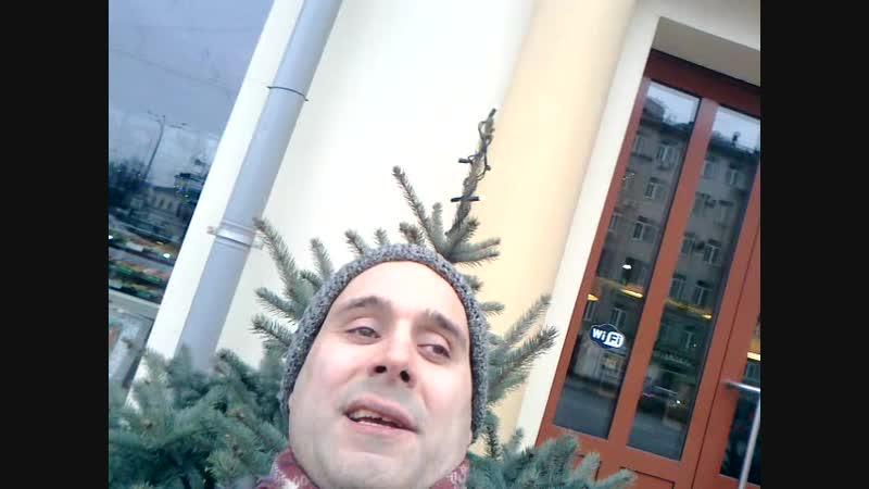 Снимаю новогоднее поздравление около Проспектмировской ёлки 22 декабря 2017.