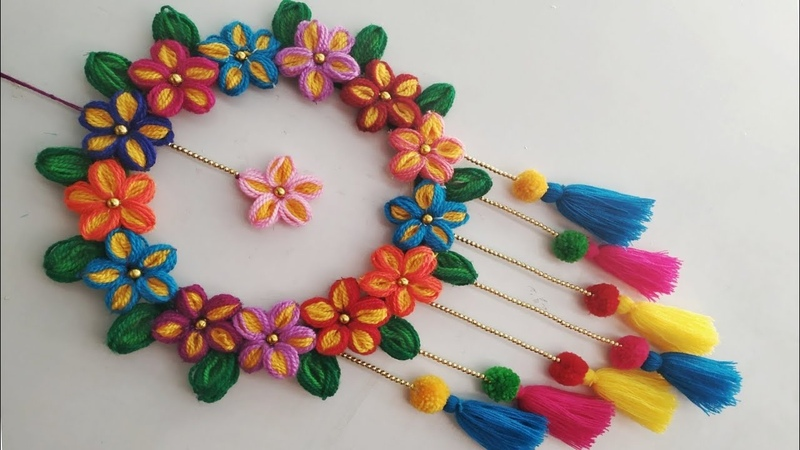 DIY Wall Hanging Out Of Wool / Wool Flower Making / Home Decoration Idea