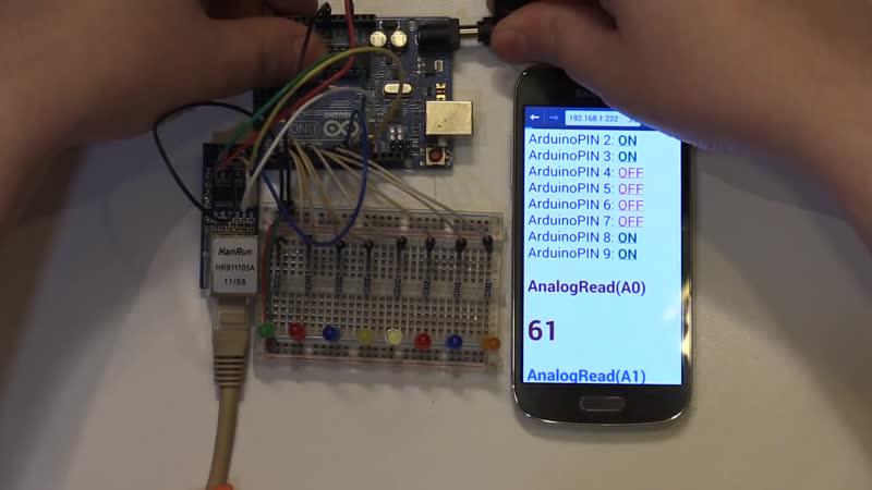 V 2 Управляем Arduino с Web страницы Webserver Ethernet ENC28J60 Enternet HR9111