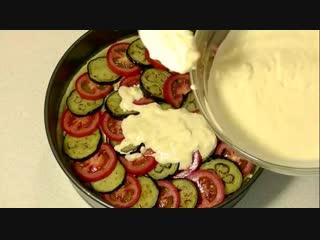ПИРОГ с мясом баклажанами и помидорами красивый сытный невероятно вкусный