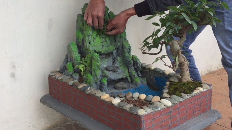 Making Fountain And Miniature Landscape From Styrofoam And Stone Sand And Cement Creative