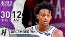 De'Aaron Fox Full Highlights Kings vs Cavaliers 2018.12.07 - 30 Pts, 12 Ast, 2 Rebounds!