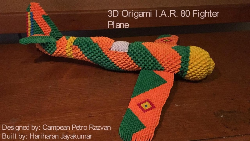 Timelapse of building 3d Origami Fighter Plane I.A.R. 80
