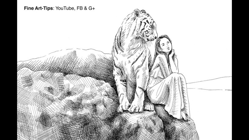 How to Draw a Tiger Girl With a Glass Dip Pen Indian Ink