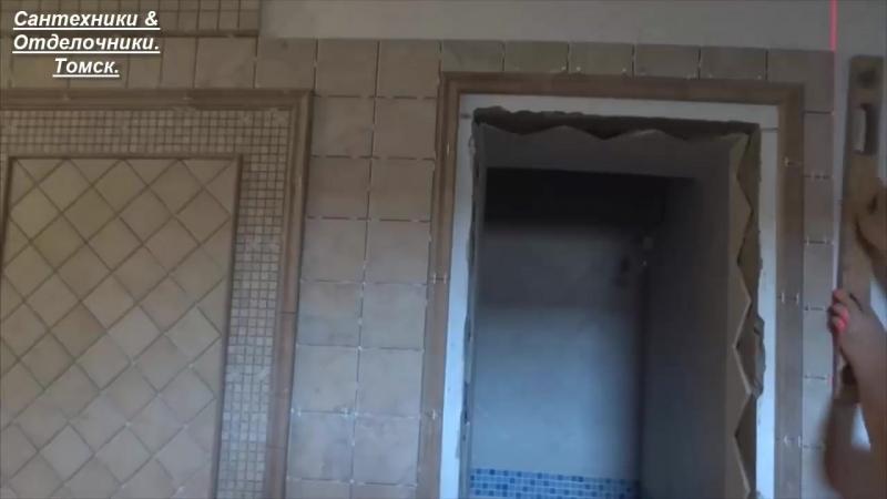 укладка плитки на стену. ковер, фальш-дверь из плитки.
