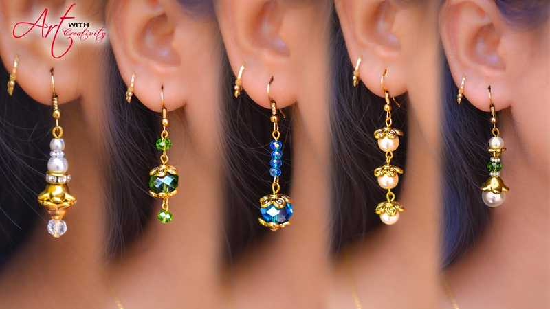 5 easy Pearl Crystal Earring Design | DIY | 5 min Craft | Hand made jewelry | Art with Creativity