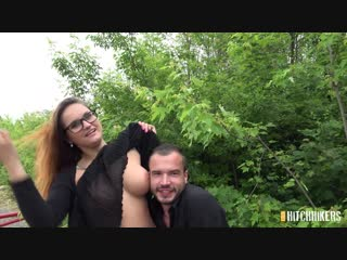 [czechhitchhickers] barbara bieber - a nerd with nice fake boobs