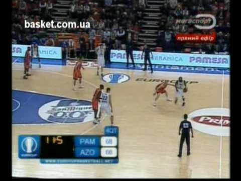 Khalid El-Amin missing 3-point ball. Pamesa Valencia vs BC Azovmash (Mariupol)