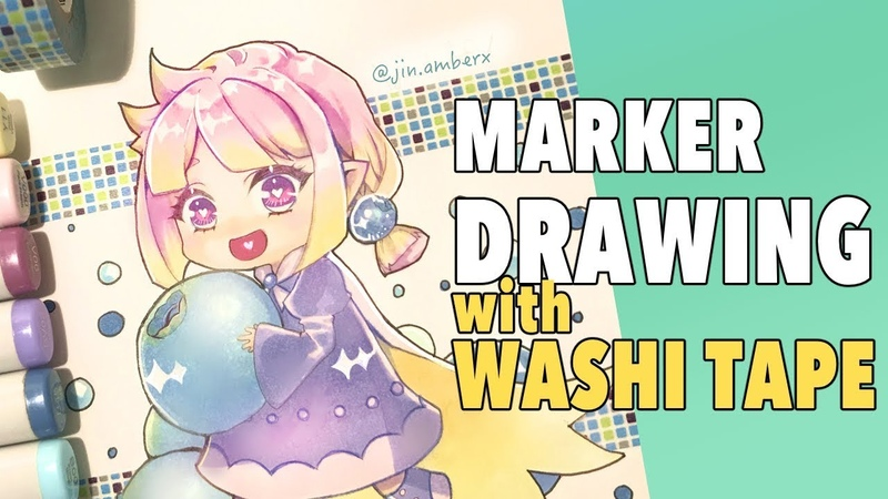 ART JOURNAL | Drawing chibi with Copic markers and washi tape