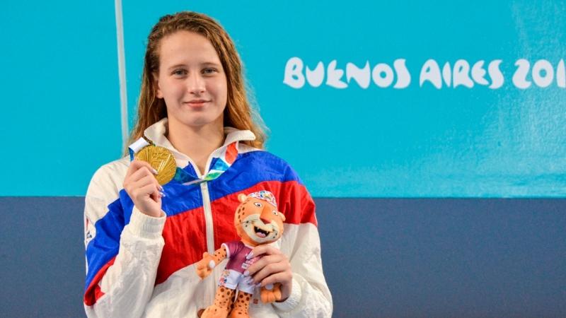 Заплыв и награждение Полины Егоровой. Золото на 100 метров баттерфляем