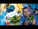 Вадим играет лего ниндзяго, как бейблейд - выигрывает приз КИНДЕР СЮРПРИЗ - lego spinjitzu челлендж