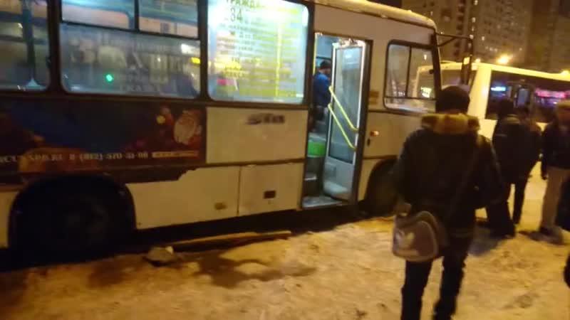 Петербуржцы помогли вытолкнуть автобус из снега [3]