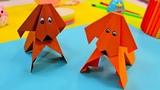 Веселая Оригами Собачка из бумаги