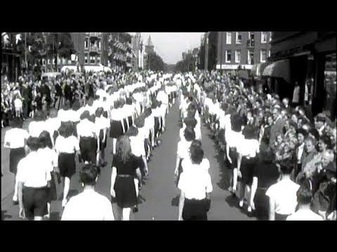 1948 Parade opening Sportweek te Amsterdam - oude filmbeelden