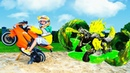 МОНСТРЫ ожили Tisha ride on a children's motorcycle and found monsters Breakout Beasts