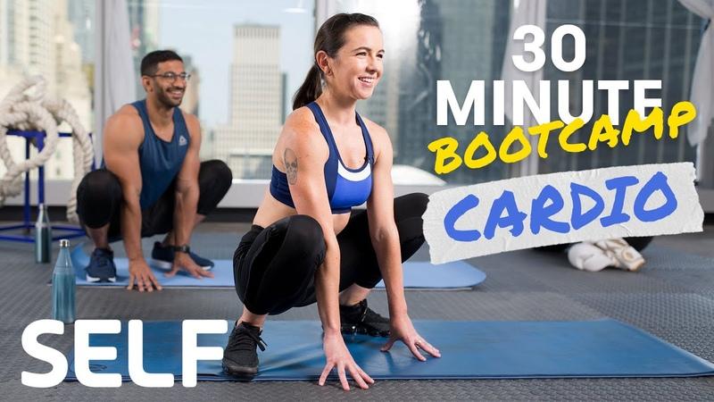 Rhys and Amy Bodyweight Cardio Bootcamp Workout No Equipment Интервальная тренировка без инвентаря 4 раунда