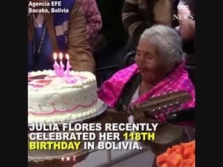 118 лет. Джулия Флорес родилась 26 октября 1900 года. Боливия (VHS Video)