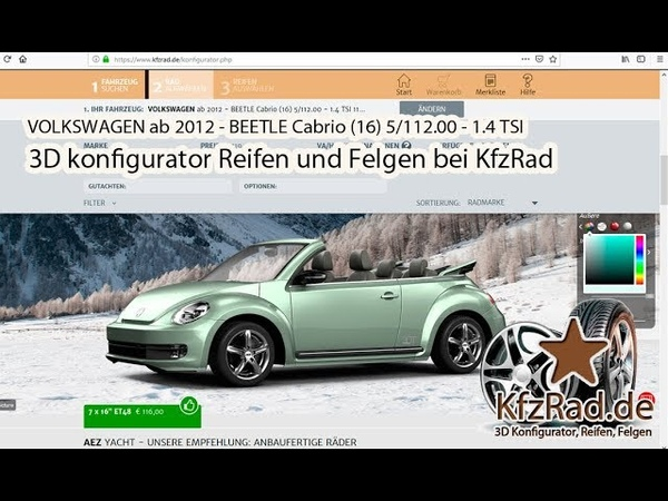 VOLKSWAGEN ab 2012 - BEETLE Cabrio (16) 5/112.00 - 1.4 TSI Reifen und Felgen bei KfzRad.de