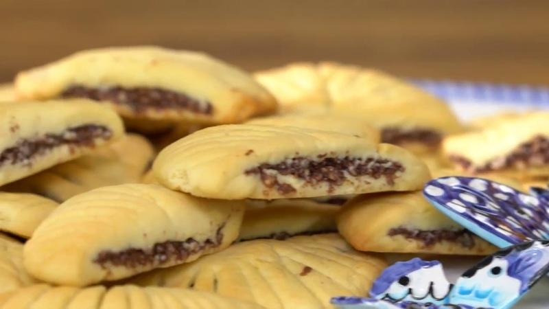 Печенье с шоколадно- фундуковой (ореховой) начинкой / Misafirim Var - Yelpaze Kurabiye Nasıl Yapılır?