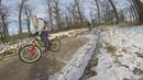 По ступенькам на велосипеде в гололёд