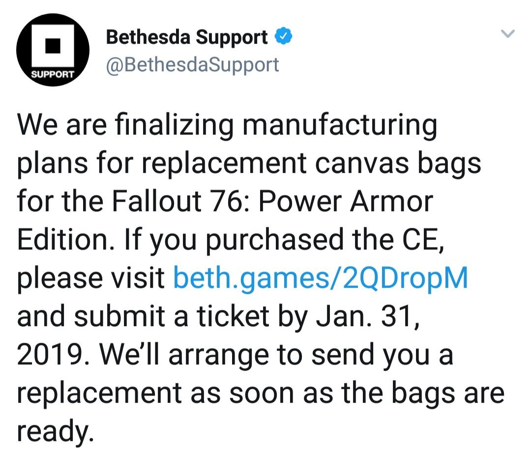 Bethesda принимает заявки на замену сумок из коллекционного издания.