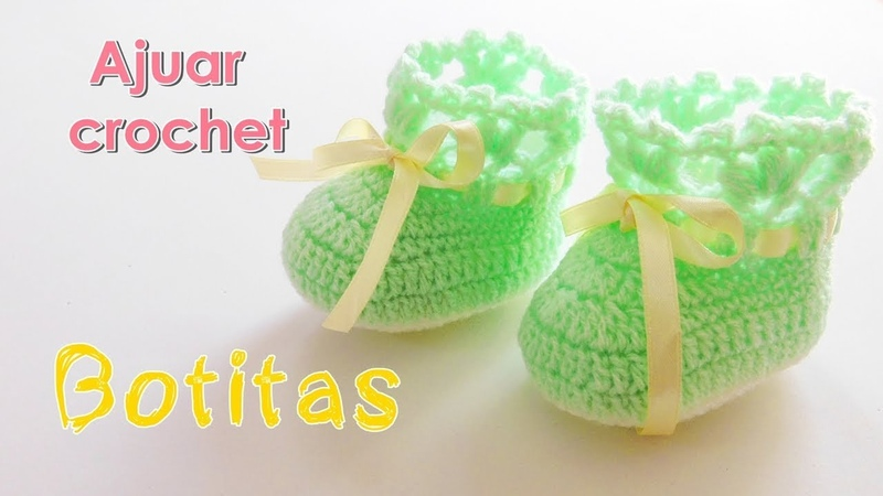 Como tejer zapatitos o escarpines para bebe a crochet -ganchillo