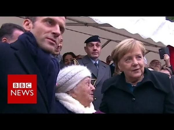 Old lady mistakes Chancellor Merkel for Macrons wife - BBC News