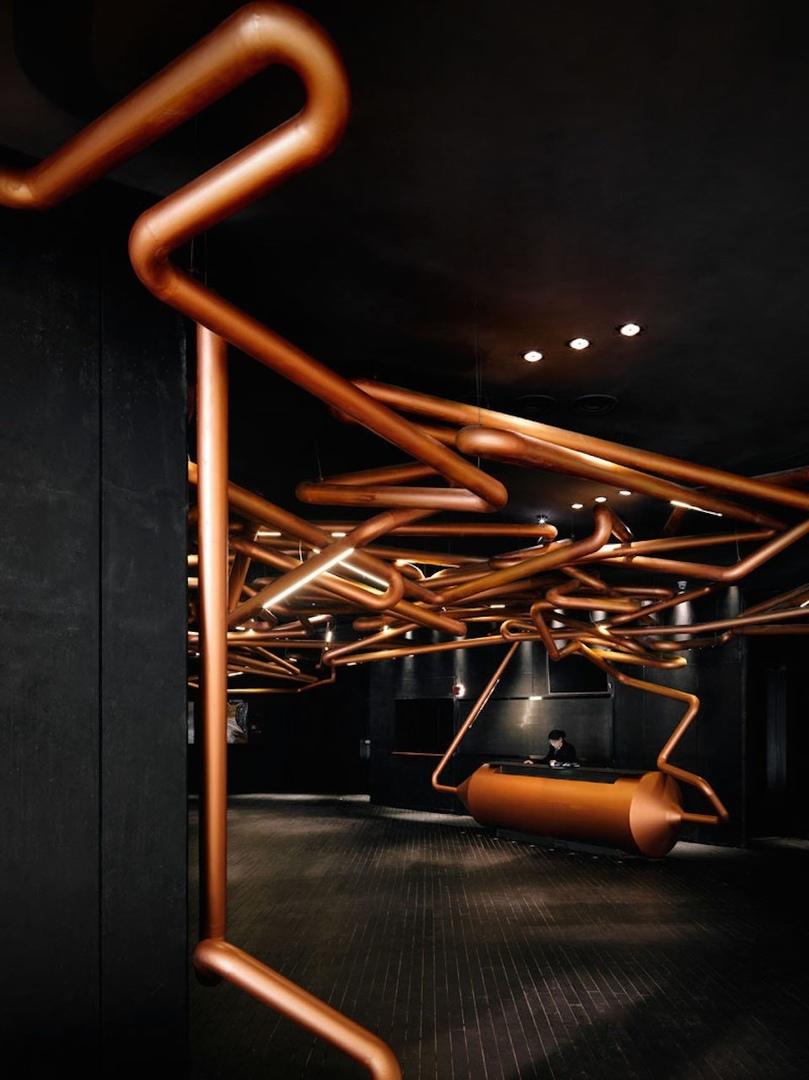 Impressive Copper Pipes in Shanghai Cinema