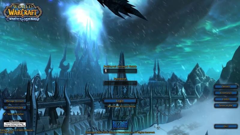 3.0 Wrath of the Lich King. Login Screen