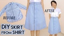 DIY Turn Old Shirt Into Skirt | Button Front A Line Midi Skirt | Clothes Transformation Upcycle