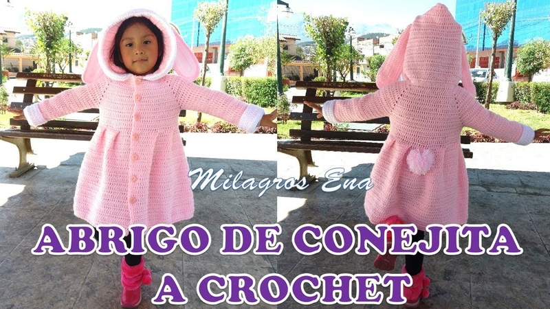 Suéter o Abrigo a crochet de conejita para Niñas PARTE 1 paso a paso