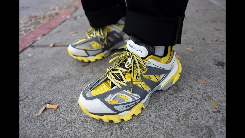 Balenciaga Track Yellow Grey 2018 Sneaker Closeup