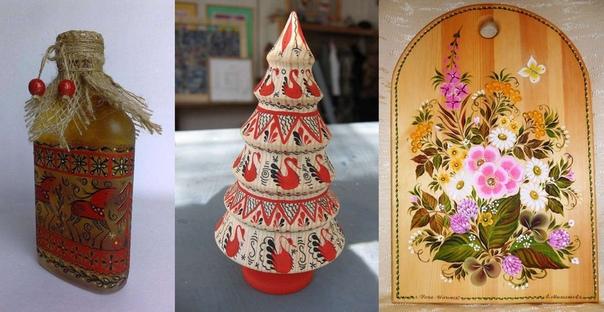Работы мастериц росписи по дереву из Усть-Илимска