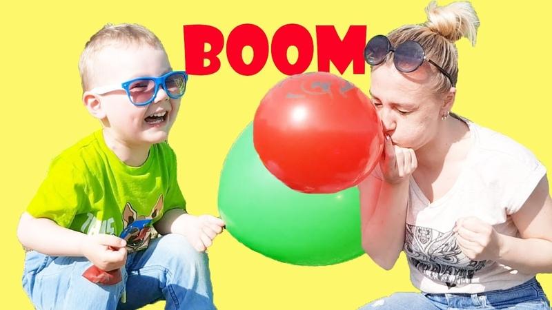 Simon и мама надувают и лопают шарики