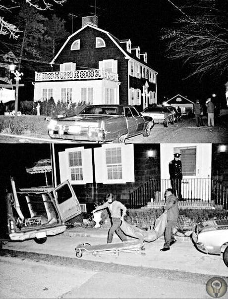 Полицейские выносят тела из дома Амитивилля.