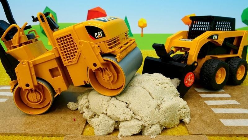 O rolo compressor. Veículos de serviço. Vídeos de brinquedos em Português Brasil.
