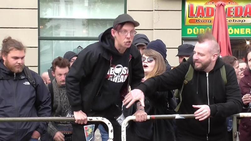 AFD-Demo: Sven Liebich geht zu den Linken, Halle, 22.5.2019, Antifa