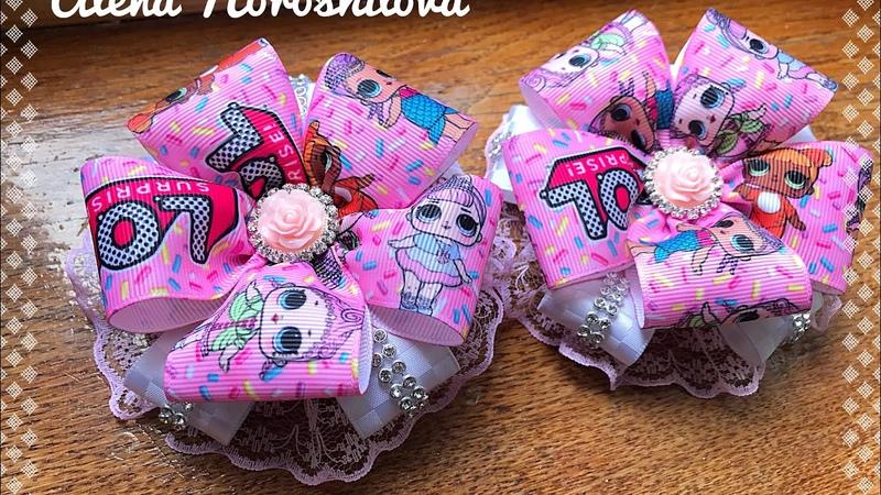 Банты LOL куколки МК Канзаши Алена Хорошилова tutorial ribbon bow laço de fitas