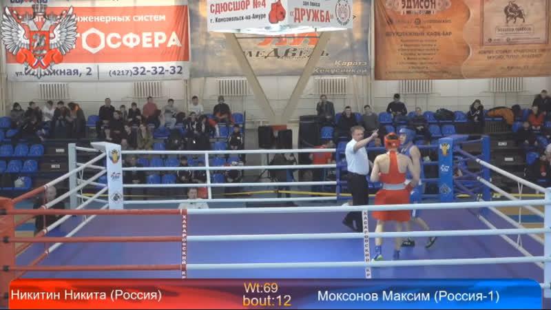 Никита Никитин выигрывает стартовый бой на турнире памяти российских воинов погибших в Афганистане и других горячих точках