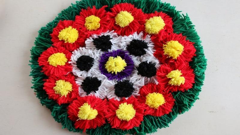 DIY Awesome Craft Ideas   How To Make Doormat Using Woolen jute Rug - doormats making idea NR-202