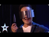 DANGER ALERT Blindfolded magician THROWS A KNIFE at Dec! Auditions BGT 2018