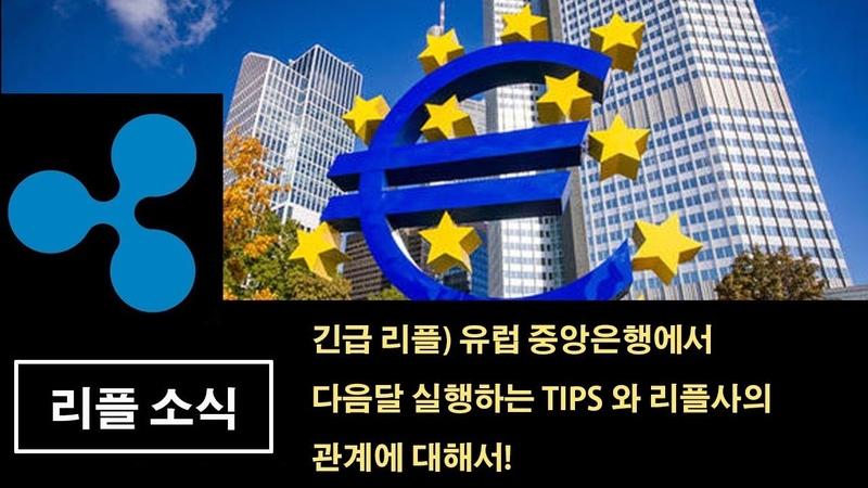 긴급 리플) 유럽 중앙은행에서 다음달 실행하는 TIPS 와 리플사의 관계에 대해서