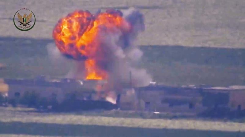 24 05 19 Выстрелом из ПТРК был уничтожен танк САА скорее всего примерно в этом месте очень много совпадений по местности но нет 100% уверенности