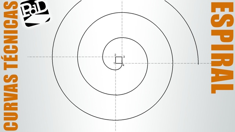 Espiral de cuatro centros. Volutas. Envolvente de un cuadrado (Curvas Técnicas).