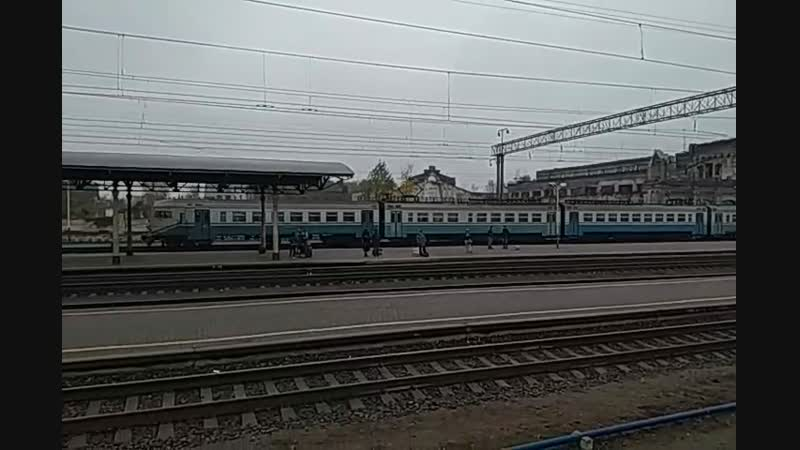 Электропоезд ЭР9М-4009 прибывает на станцию Конотоп