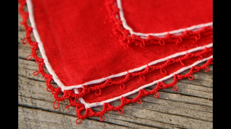 Needle Tatting - Attaching Tatted Edging: tatting chains (Ch.) directly onto fabric by RustiKate